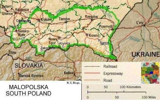 Southern Poland Map.Maps Central Europe